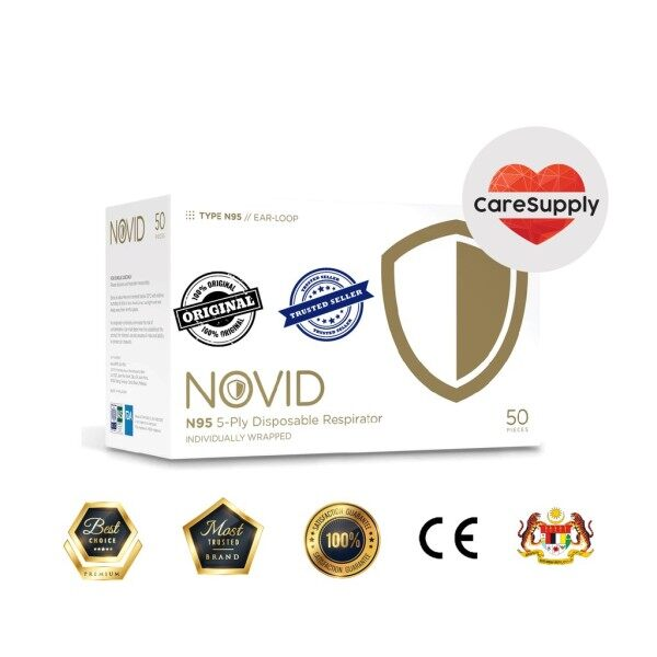 NOVID N95 5-Ply Respirator Face Mask - INDIVIDUAL PACK [Ready New Stock] [Fast Delivery]