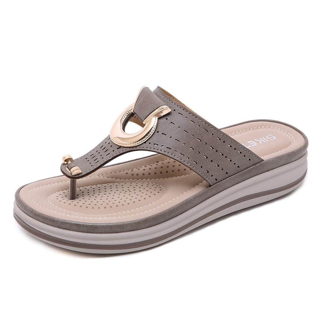 9b3ecaee27274 Auburyshop Bohemia Summer Women Ladies Metal Wedges Sandals Beach Flops  Flip Slipper Shoes 【Reference CN