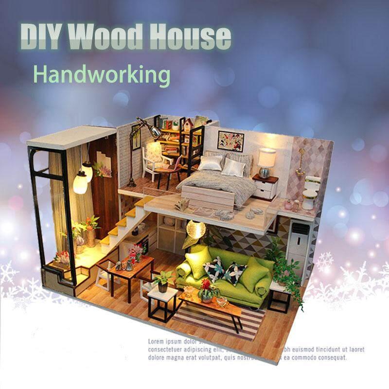 Free Pengiriman + Tawaran Kilat  Diy Rumah Boneka Kayu Kerajinan  Handworking Hadiah Miniatur Proyek b042d087b8