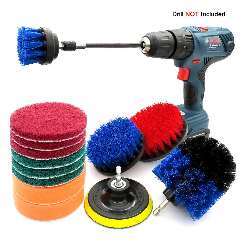 14Pcs Drill Brush Kit , Power Scrubber Brush,Scouring Pads and Scrub Sponge All Purpose for Car Bathroom Kitchen