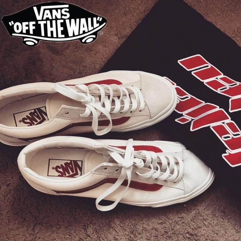 98ba58c10285 SLK ☆ Vans Original style 36 Canvas shoe flattie Casual running shoes white  red blue