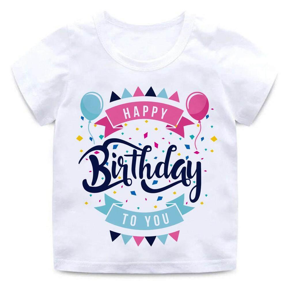 8acd7b81 Happy Birthday Balloon 2-14yrs Tshirt for kids t shirt Boy's T-shirt Girls