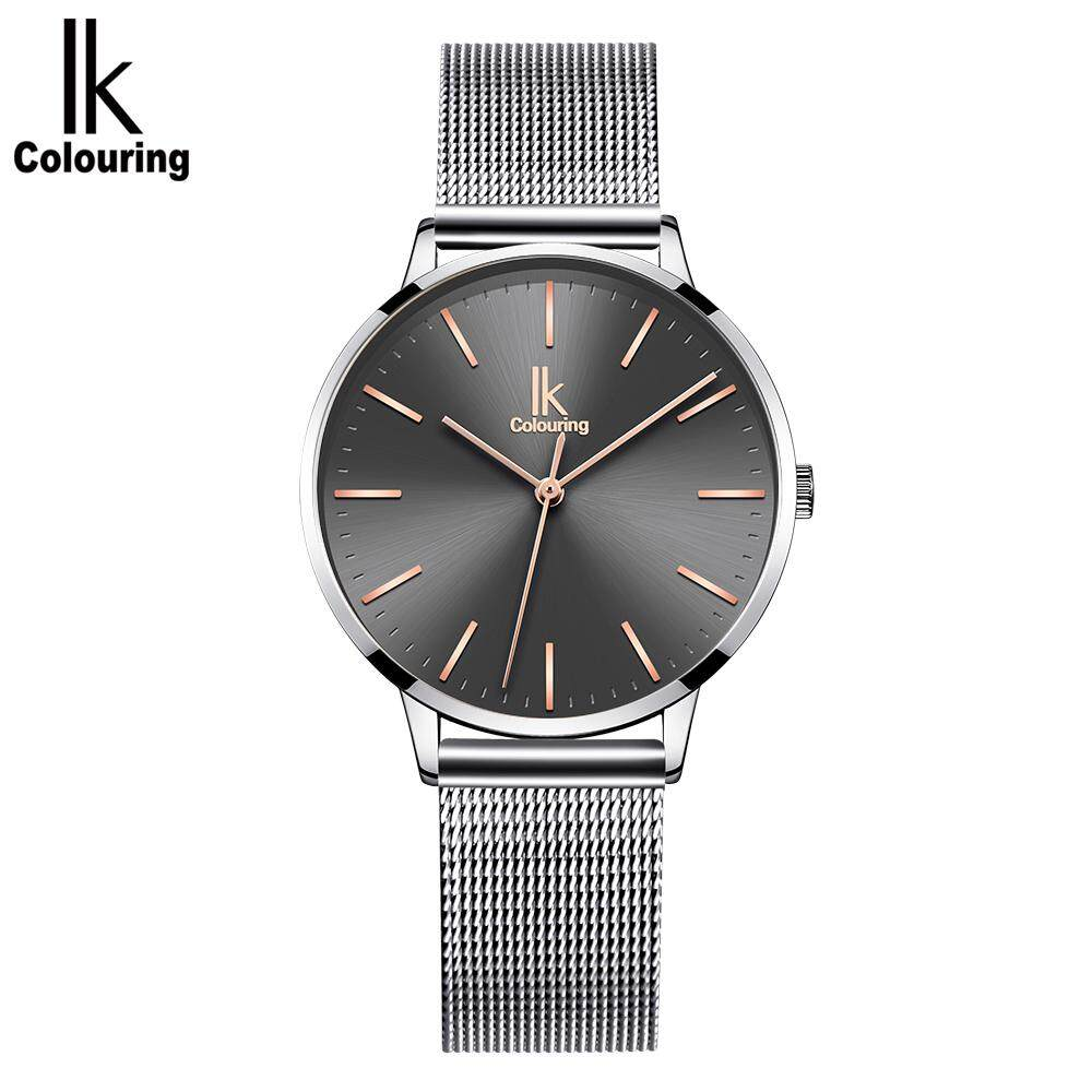 IK COLOURING Luxury Charm Quartz Movement Wristwatch For Women Stainless Steel Mesh Strap Simple Dial Ladies Dress Bracelet Watch Life Water Resistant Business Casual Ladies Watch K023 Malaysia