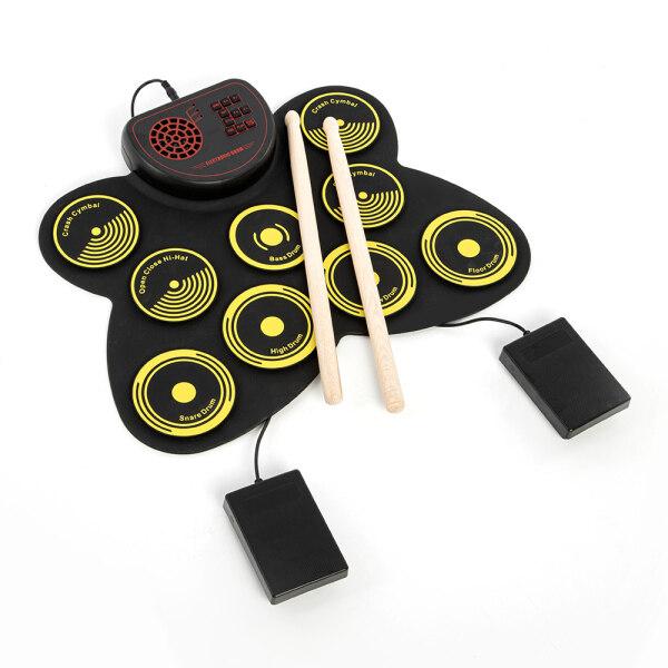 Bộ Trống Điện Tử Di Động USB Cuộn Lên Đệm Trống Kit 9 Drumpads Built-In Loa Với Dùi Trống Và Bàn Để Chân Kỹ Thuật Số Nhạc Cụ Gõ