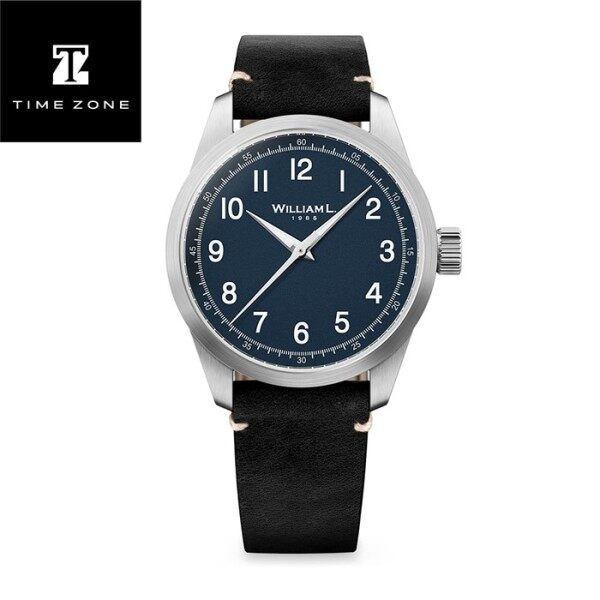 William L. 1985 - Three Hands -Stainless Steel full Brushed-Black Leather white Stitching Malaysia