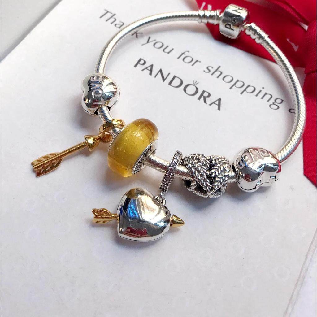 032a95996 (Ready Stock) Original Pandora combination feather love cupid bracelet  woman One year warranty Send