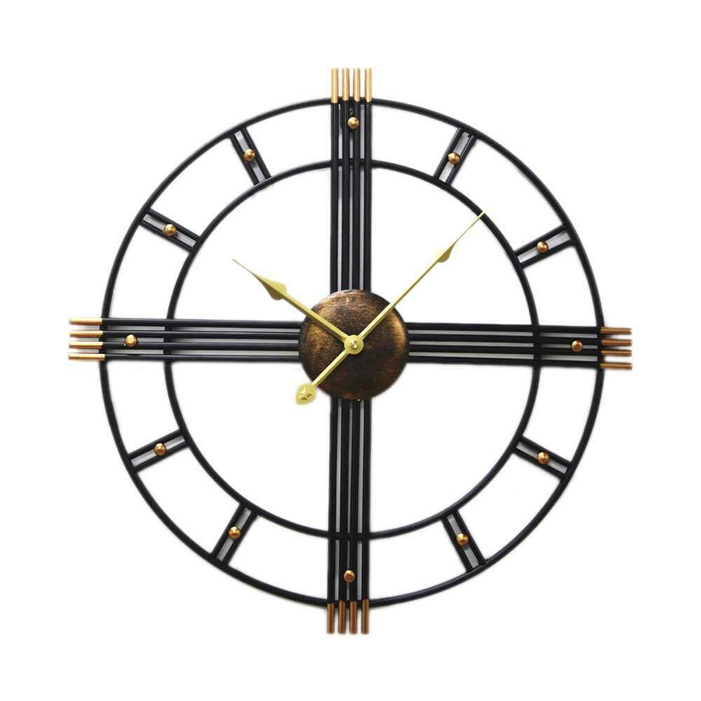 Aolvo 3D Retro Roman Wrought Iron Vintage Creative Glass Clock Decorative Wall Clock Big on Wall Room Escape Wall Clock, 50cm
