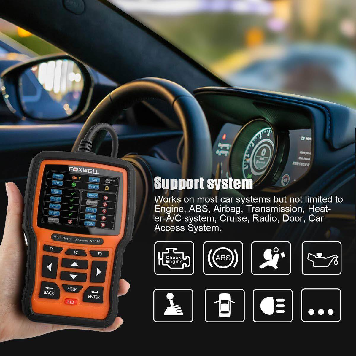 Foxwell NT510 for Honda Full System OBD Obd2 Scanner Throttle Body Engine  SAS DPF ABS Airbag TPMS Transmission Oil Service Reset Car Diagnostic Tool