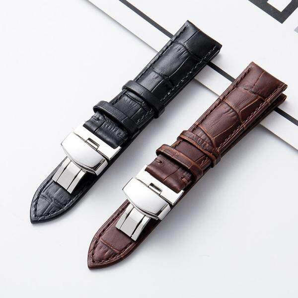 Leather strap high-end watch with leather bamboo strap strap men/women single button butterfly buckle watch accessories Malaysia