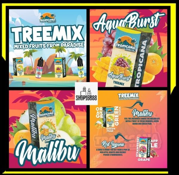 Tropicana Treemix Series 15ml Tropicana Salt / Treemix Series Malibu / Aqua Burst / Tropicana Red Laguna / Tropicana Salt Treemix Malaysia