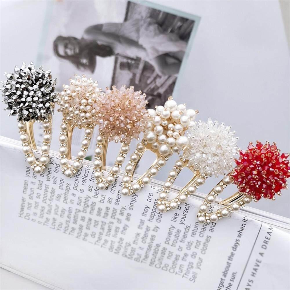 2fa4c83217 Korea Women Pearl Hairpins Crystal Rhinestone Snap Barrette Hair Clip Metal  Hairgrip Hair Styling Tools Accessories