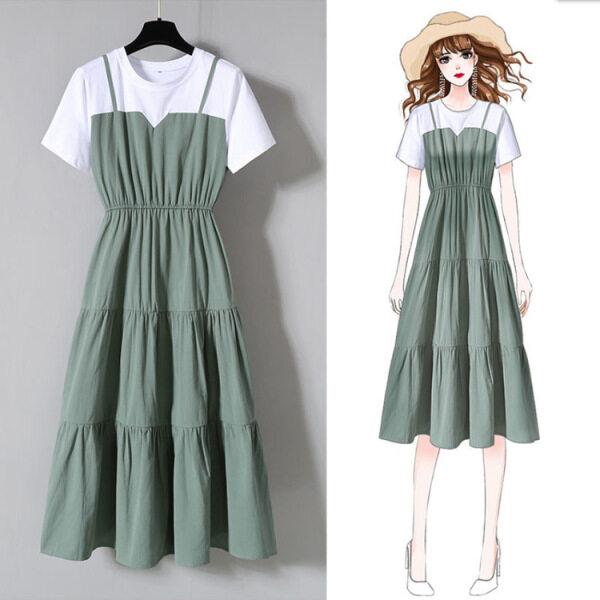 Váy Nữ Đầm Eo Co Giãn Cổ Tròn Tay Ngắn Chắp Vá Váy Thanh Lịch Hàn Quốc
