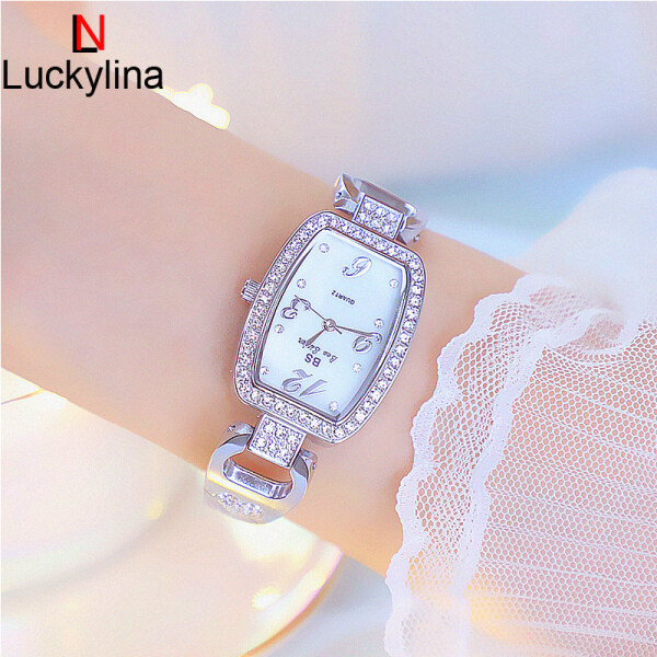 BS Bee Sister 1095 New Arrival Fashion Womens Watches Elegant Stainless Steel Alloy Strap Waterproof Quartz Square Shape Watches Diamond Austria Imported Rhinestone Luxury Ladies Wristwatches Malaysia