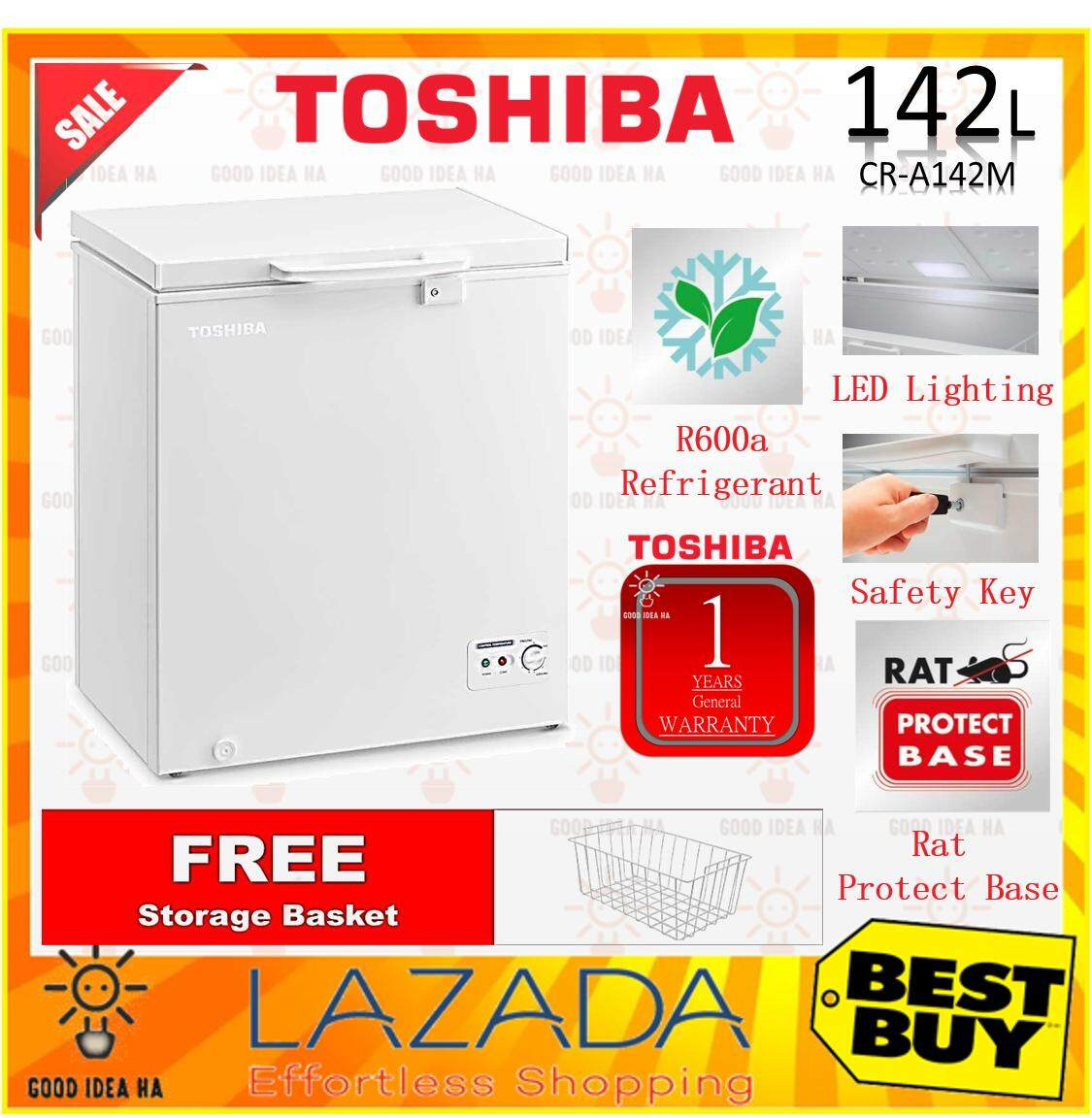 *FREE GIFT* TOSHIBA 142L CHEST FREEZER (CR-A142M / CRA142M) with 2 IN 1 FUNCTION