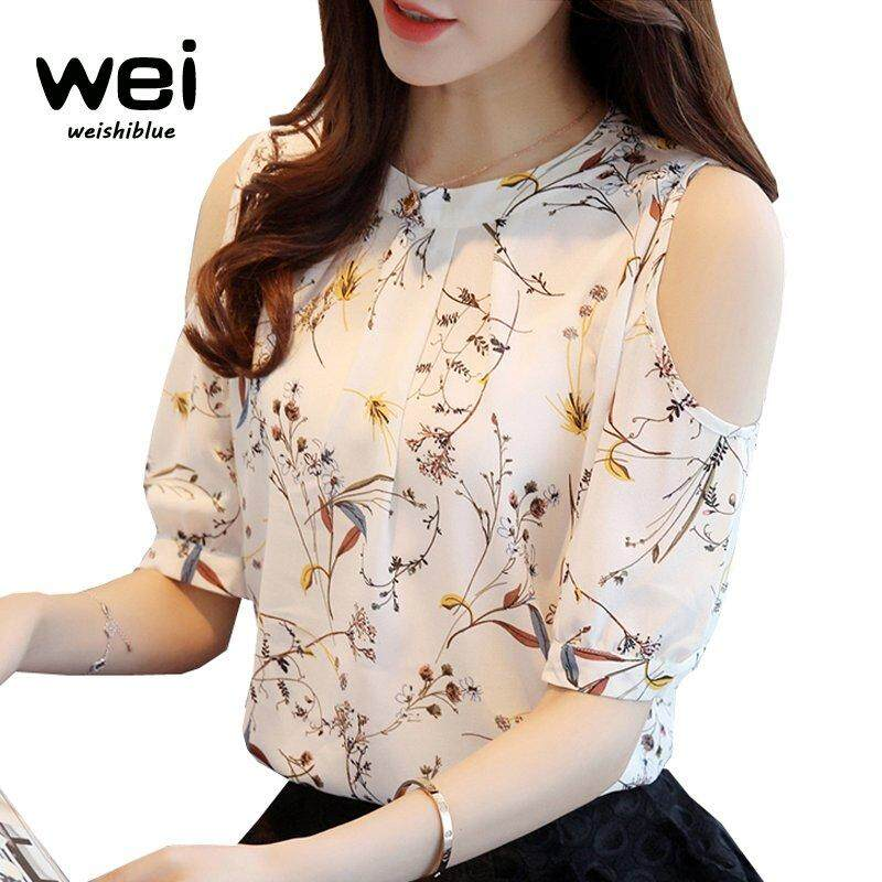 347d66683d7cac WEISHIBLUE Chiffon Blouse Women's Fashion Tops Summer Floral Print Shirt  Off Shoulder Women Blouse Shirt Korean