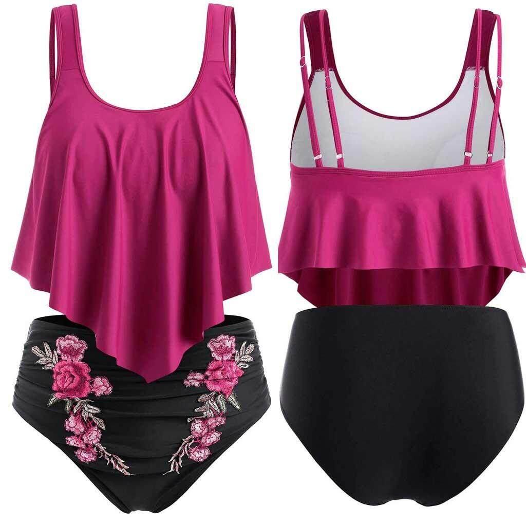 18e4484f3455 Women Push-Up Padded Plus Size Overlay Embroidery Bikini Swimsuit