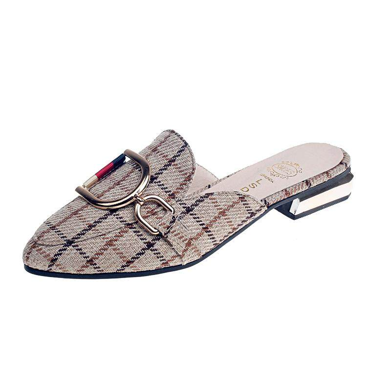 b25250a861a TLL Women Checks Pattern Pointed-toe Mules Casual Low Heel Sandals Slip-on  Slides