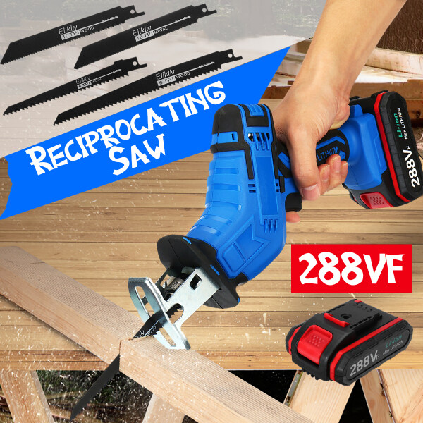 288VF Cordless Electric Reciprocating Saw Self-locking Chuck LED Light Variable Speed Garden Wood Cutting Recip Pruning 4 Blades for Wood/Metal/Plastic-with 1/2 Li-ion Battery