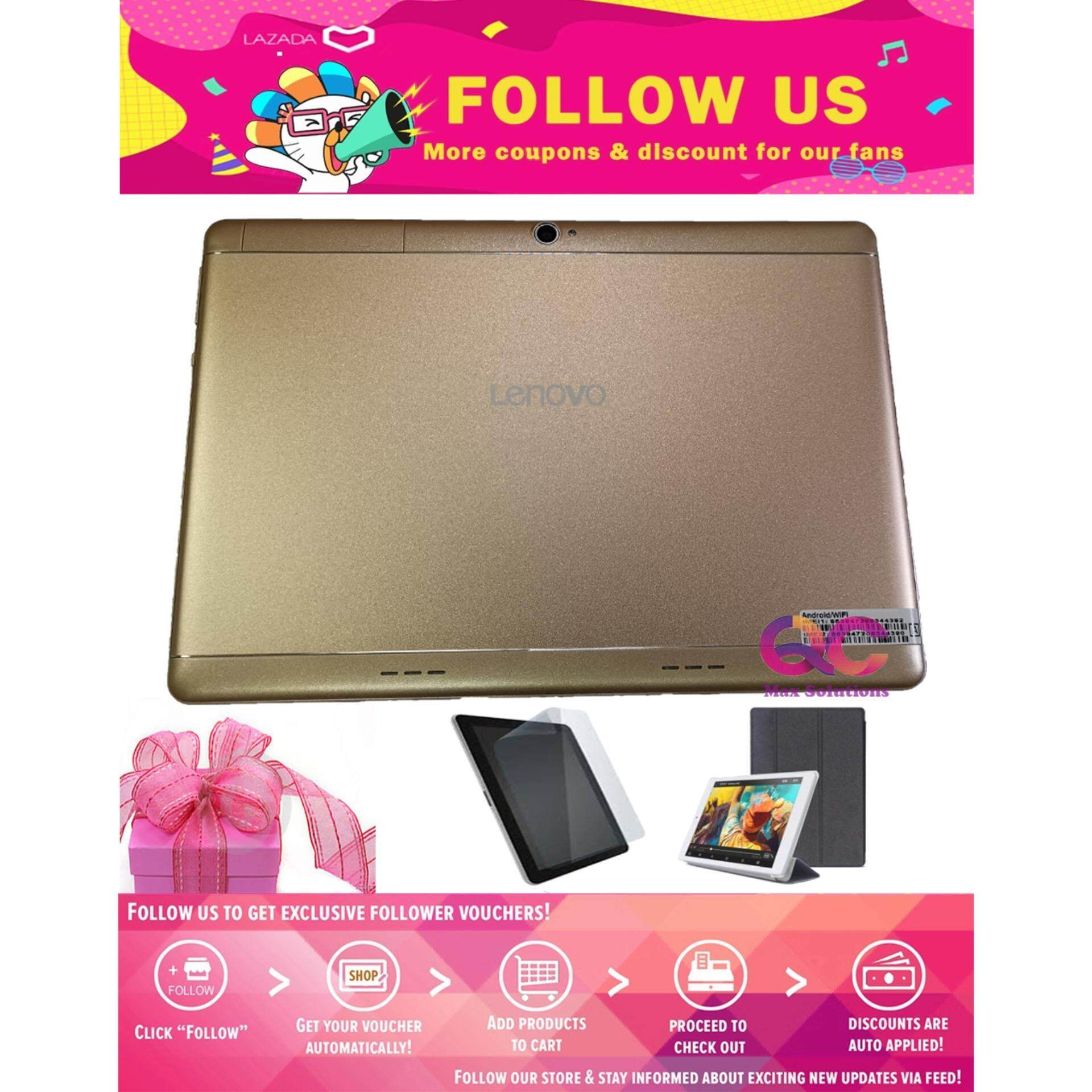 Lowest Pricel!! Lenovo Tab 3 Tablet Display Screen 10.1' Dual Sim Cards & Memory Card Slots Support Wi-Fi/Bluetooth/Hotspot/Data Connection (2GB RAM + 16GB ROM) FREE Screen Protector + Flip case