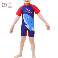 Bộ Áo Liền Quần Cho Bé Trai 27Kids, Đồ Bơi Cho Trẻ Sơ Sinh, Đồ Bơi Hoạt Hình Nhanh Khô, Tay Ngắn, Đồ Bơi Lướt Sóng Cho Bé 3-12 Tuổi