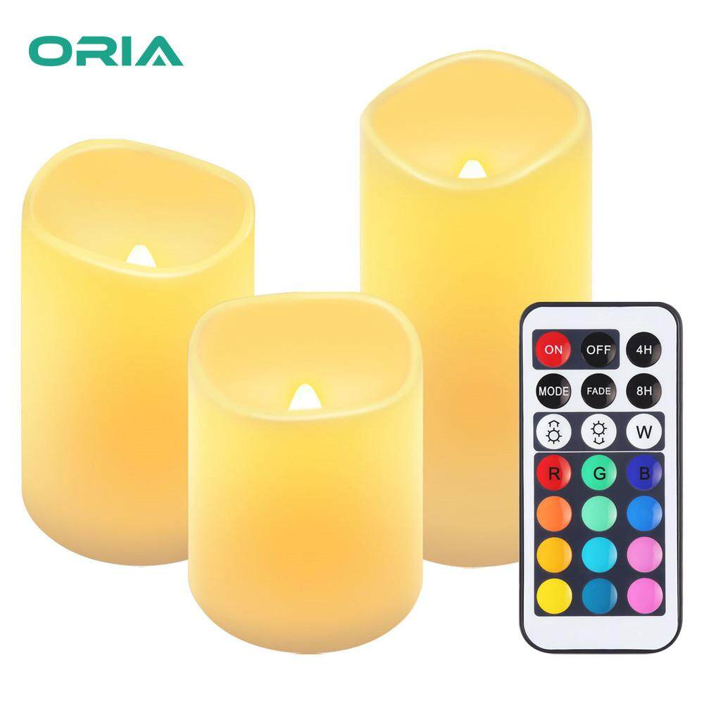 ORIA 3PCS Flameless Candles Led Colorful Tea Lights, Battery Operated with Remote Sensor Multi-Color and White for Wedding Thanksgiving Halloween Christmas Party Festival
