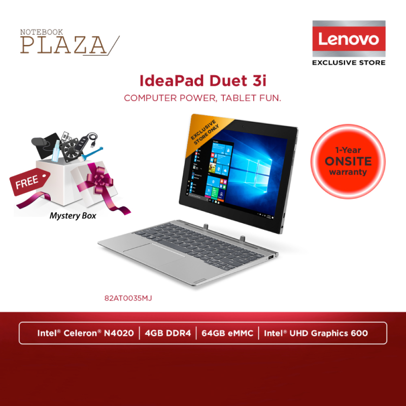 Lenovo IdeaPad Duet 3 10IGL5 82AT0035MJ 10.3 WUXGA Touch Laptop Graphite Grey ( Celeron N4020, 4GB, 64GB, Intel, W10 ) Malaysia