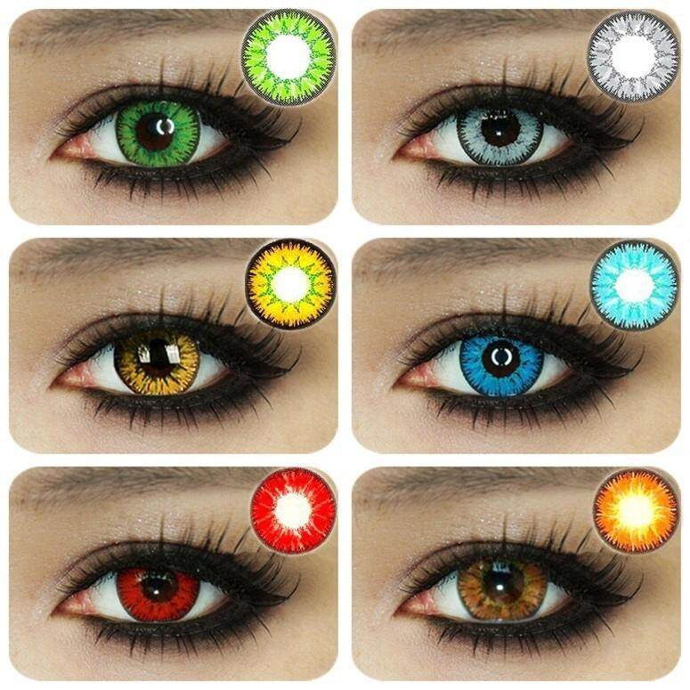 1 Pair Eye Cosmetic Colorful Contact Lens Halloween Cosplay Lenses Crazy Lens