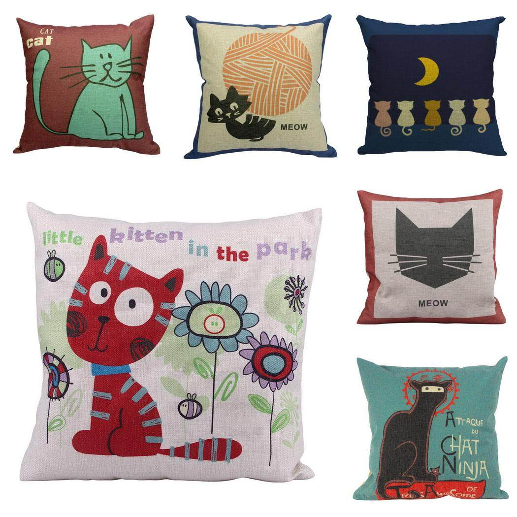 Bigood Pack of 6 Cute Cartoon Cat #A Cushion Cover Cotton Linen 18x18 Decors Pillowcases Sofa Pillow Cover