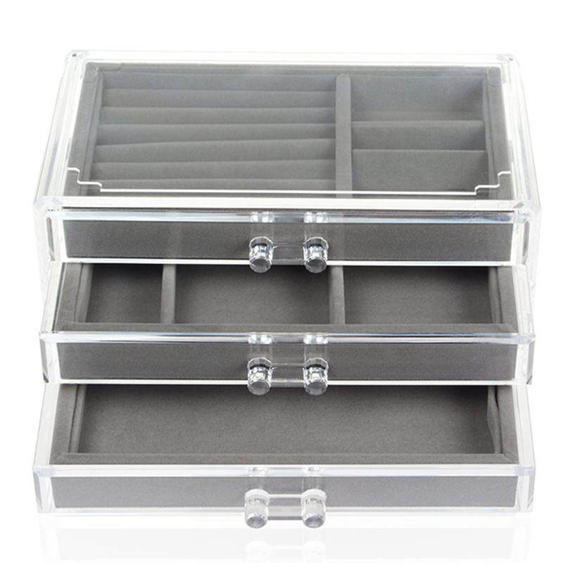 Drawers Jewelry Organizer Box For Necklaces Case 3 Layers Earring Storage Display Tray Ring Makeup Holder Bin