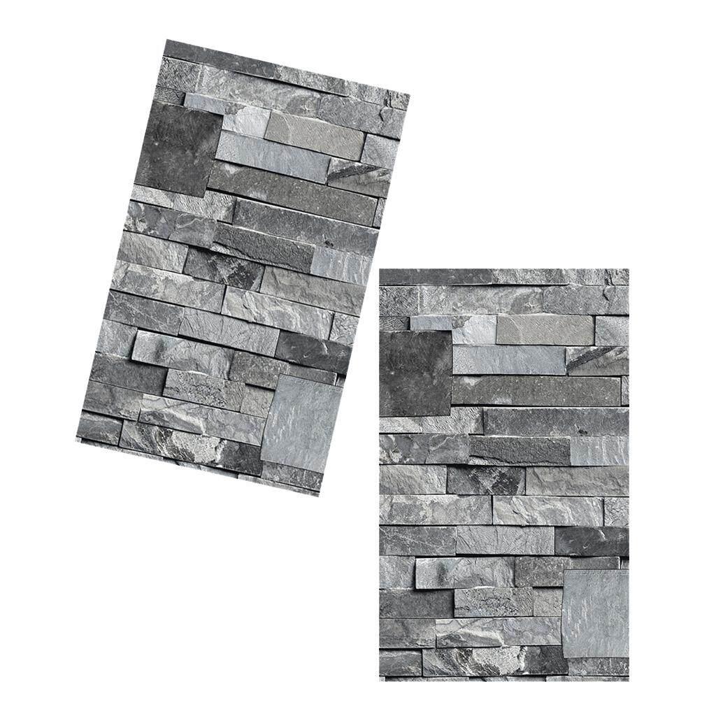 BolehDeals 2X3D Brick Stone Vintage Wallpaper Backdrop Wall Covering Paper Gray