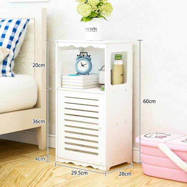 RuYiYu - Creative Plastic-Wood White Bed End Table, Nightstand Bathroom Cabinet, Kids Furniture Table Bookcase, Creative Water-proof Living Room Multifunctional Cabinet