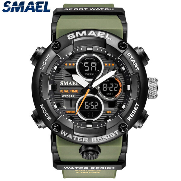 SMAEL Top Brand Luxury Mens Watches Fashion LED Digital Dual Display Business Shock Resistant Casual Time Sport Waterproof Watch Malaysia