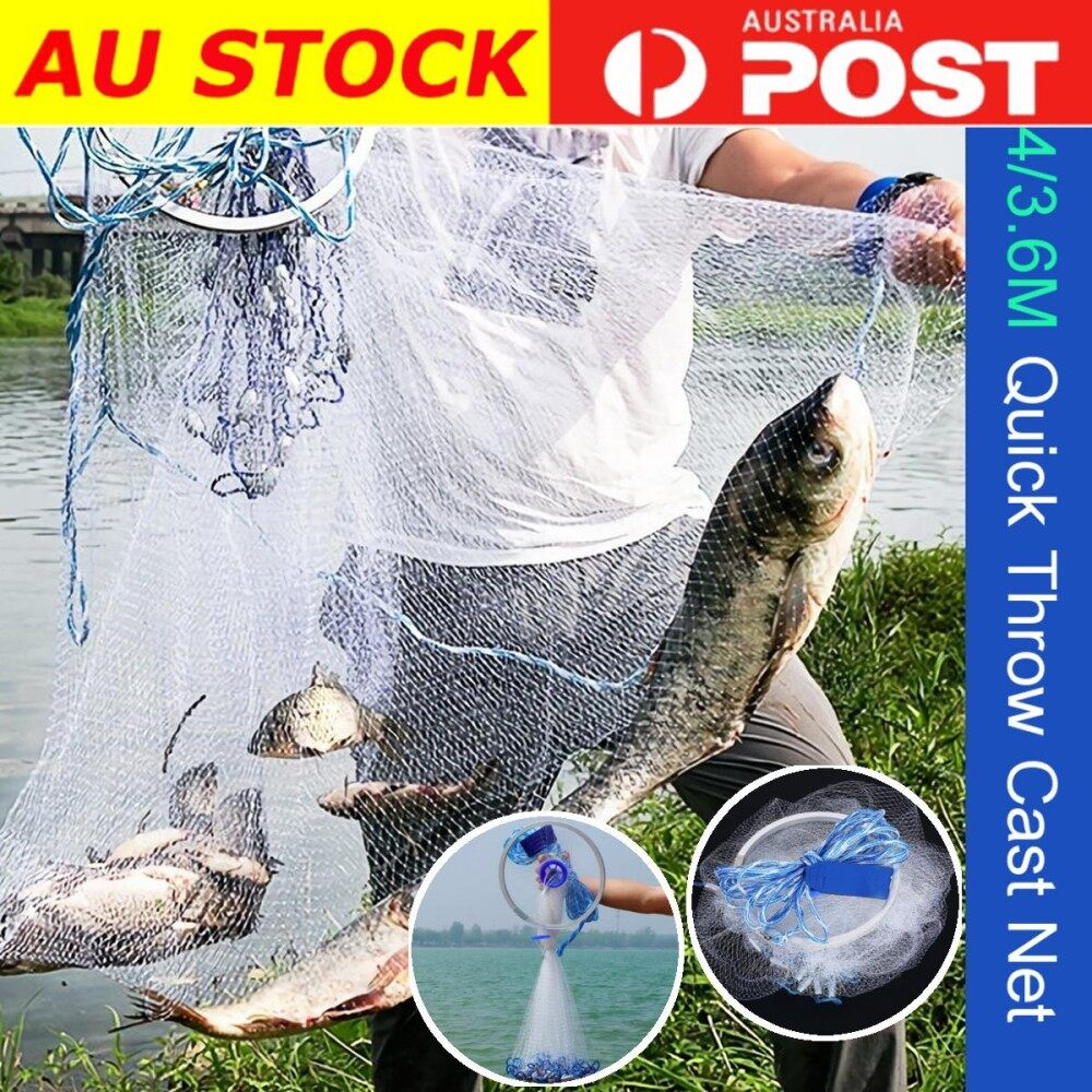 2.4m 3/4 Nylon Mesh Wire Mono Saltwater Bait Drawstring Fishing Cast Net By Qiaosha.