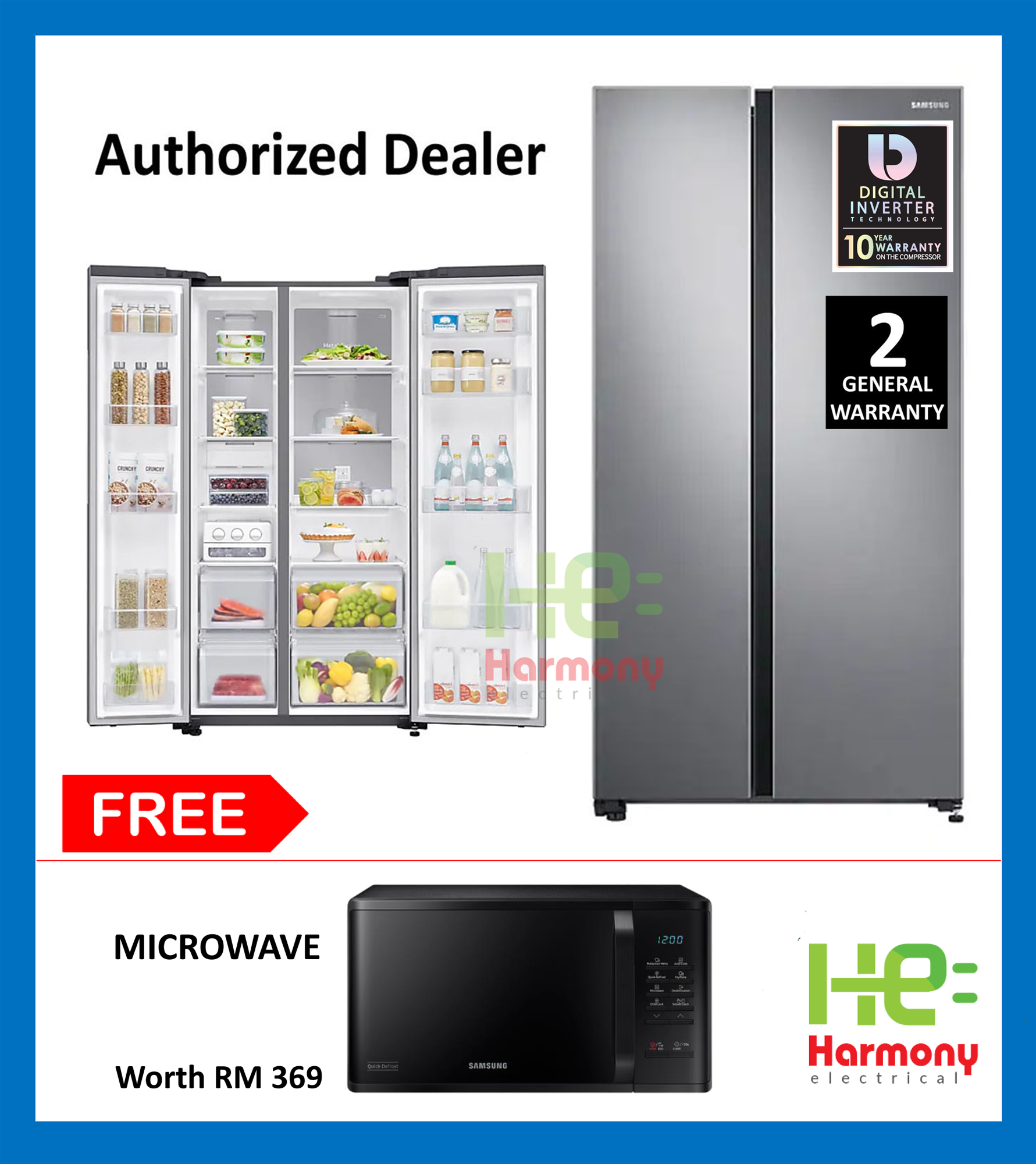 Samsung 680L Side by Side Fridge with Large Capacity (SpaceMax) Peti Sejuk RS62R5031SL/ME + FREE Samsung Microwave MS23K3513AK/SM Worth RM369