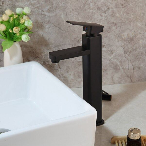 Chrome Polished Tall Bathroom Basin Vessel Sink Mixer Black Faucet High Rise Water Tap