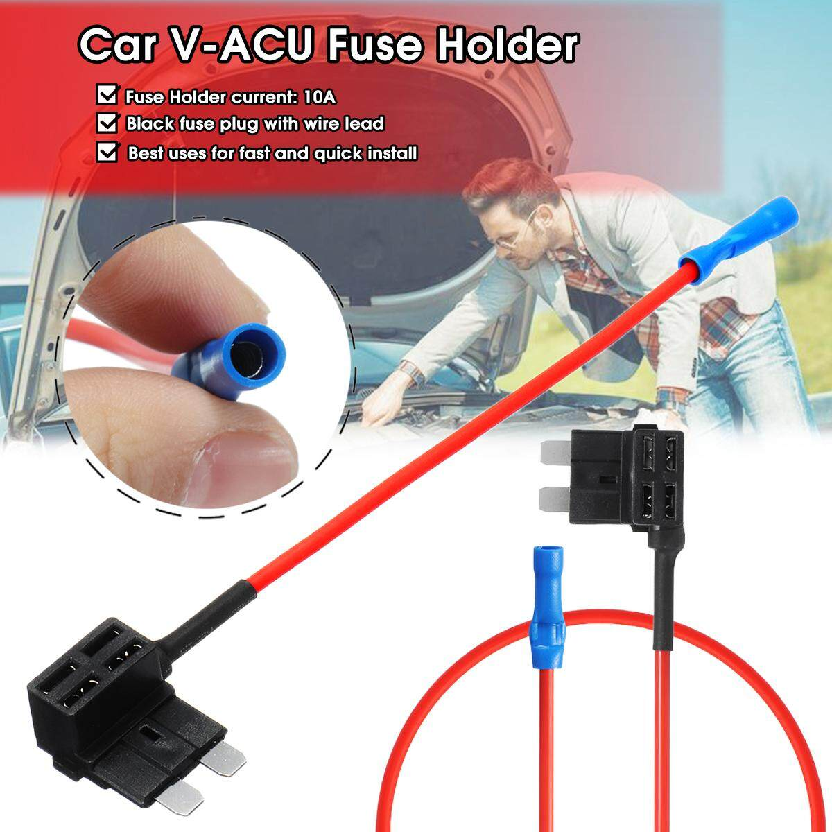 V-Acu Add A Circuit Fuse Tap Car Mini Micro Blade Fuse Box Holder Low Profile By Freebang