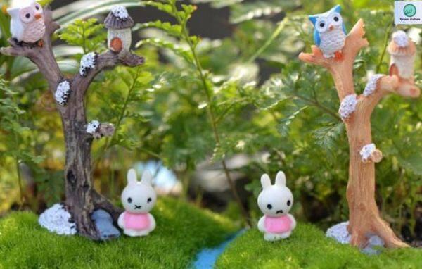 Miniature Mini for Succulent Terrarium Bonsai Cake Mini Cute Decor 树杈猫头鹰盆栽摆件 Branch with owl potted plant decoration