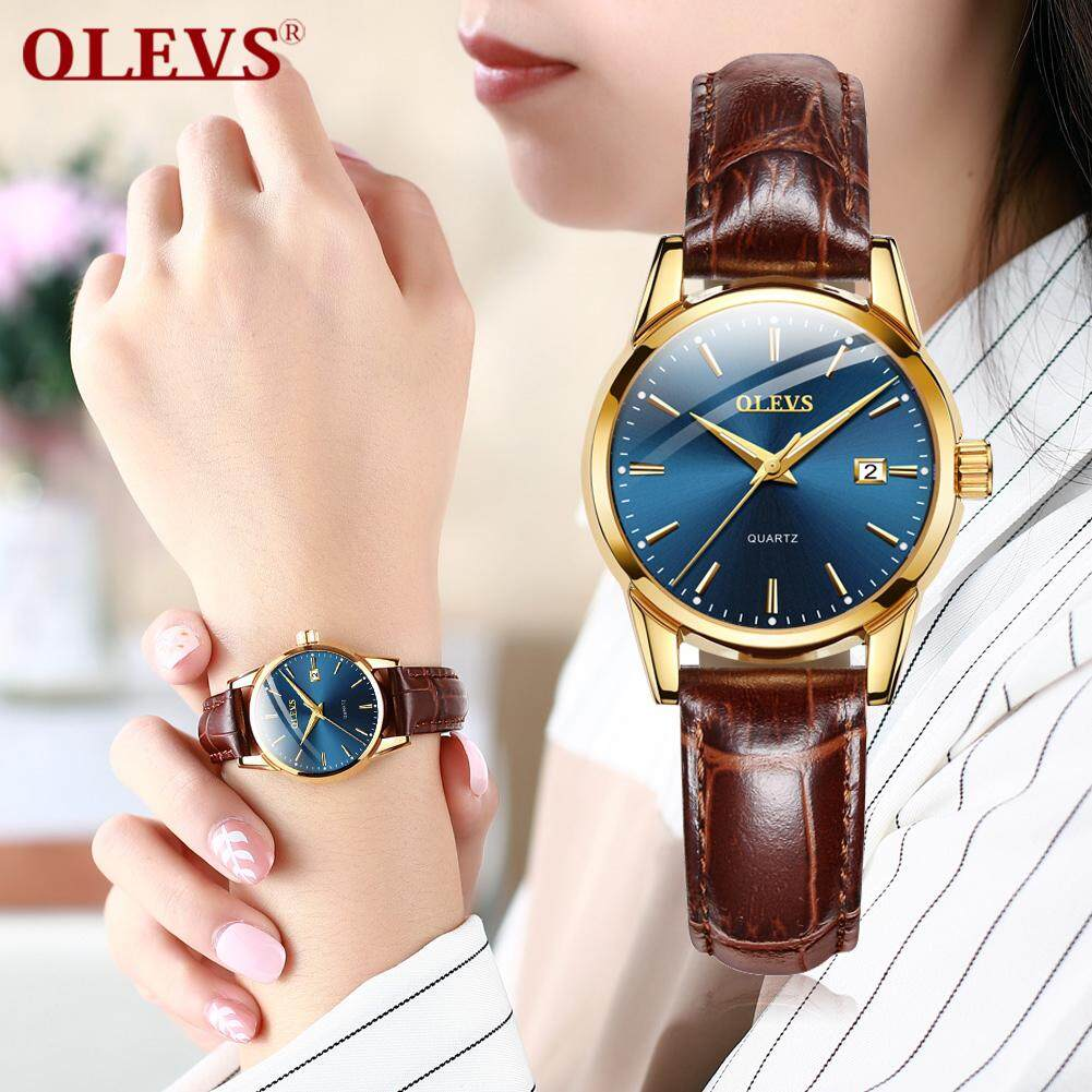 OLEVS jam tangan wanita simple fashion Ladies watches clock relojes mujer 2019 leather day date watch women Luminous Hands waterproof Wist watches Malaysia