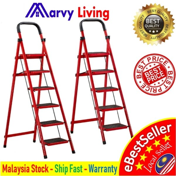 🔥🔥5 or 6 Tier Folding Heavy Duty Industrial Lightweight 5 Steps or 6 Steps Ladder With Hand Grip Tangga Bertingkat🔥