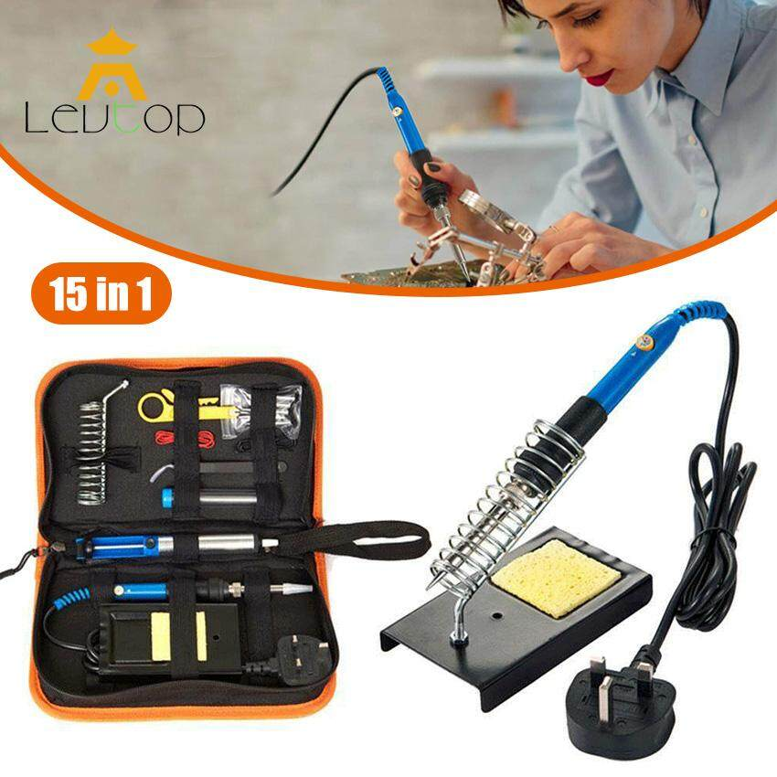 LEVTOP Soldering Iron Kit Electronics 15 Pieces Set 60W Adjustable Temperature Welding Tool, 5pcs Soldering Tips, Desoldering Pump w/ heater, Soldering Iron Stand, Tweezers