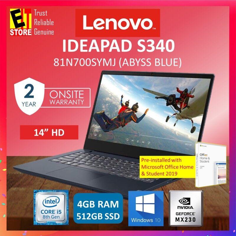 LENOVO IDEAPAD S340 LAPTOP 81N700SYMJ (ABYSS BLUE) (I5-8265U/4GB/512GB SSD/14 HD/2GB MX230/W10/OFF HOME & STUDENT 2019/2YRS ONSITE) Malaysia