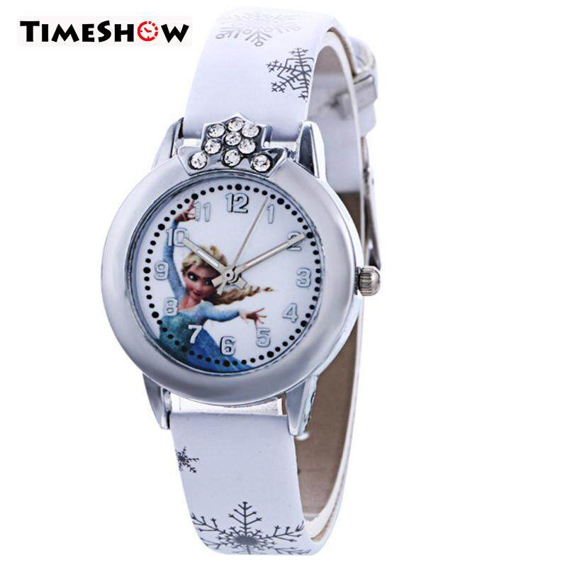 TimeShow Children Quartz Watch PU Strap Cartoon Round Dial Wristwatch Casual Watches Kids Gift Malaysia