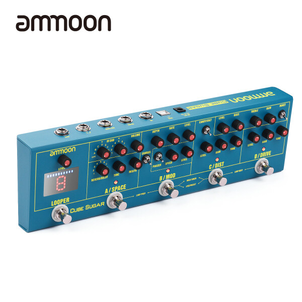 ammoon CUBE SUGAR Combined Effects Pedal 5 Analog Effects Built-in Tuner with Headphone Output Live/Preset Working Modes Malaysia