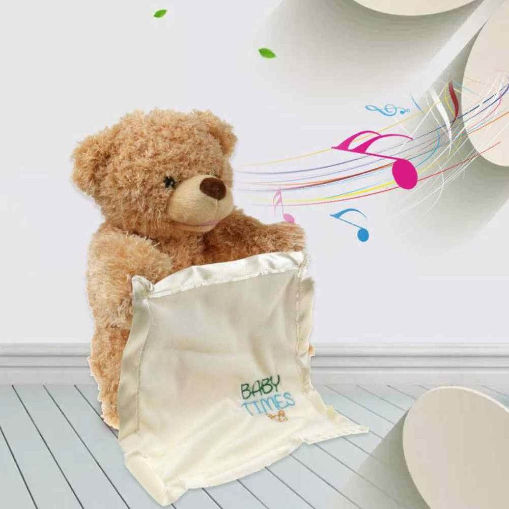 Suke Peek Boo Talking Teddy Bear Plush Doll Stuffed Animals Hide Seek  Musical Shy Bear Play 70e6a22a44