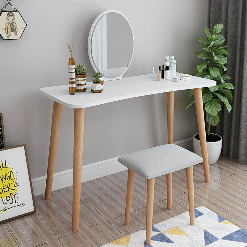 Vanity Set, Dressing Table with Oval Mirror and Stool,Wood Legs, Easy Assembly