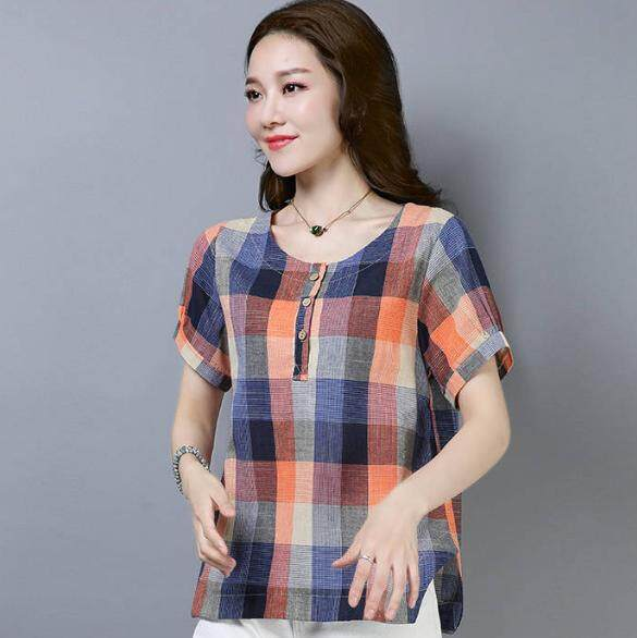 a0bcab81 COCOEPPS Short sleeved Cotton and Linen T-shirt New style Women's Summer  Round collar Fashion