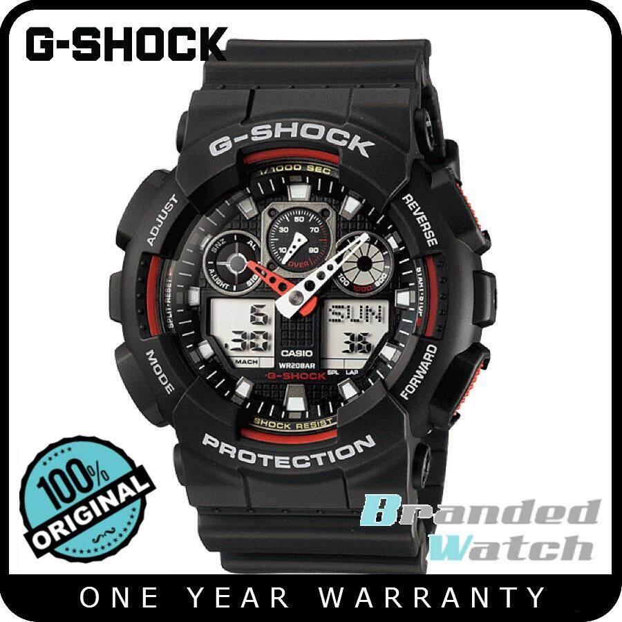 006b90e7d67a Casio G-Shock GA-100-1A4DR Original Men s Standard Digital Analog Black  Resin