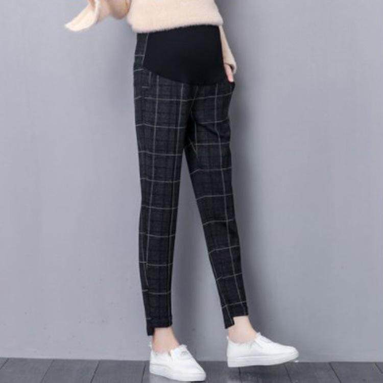 Kotak-kotak Pinggang Elastis Celana Celana Harem untuk Wanita Hamil Santai Pakaian Hamil Hamil Pakaian