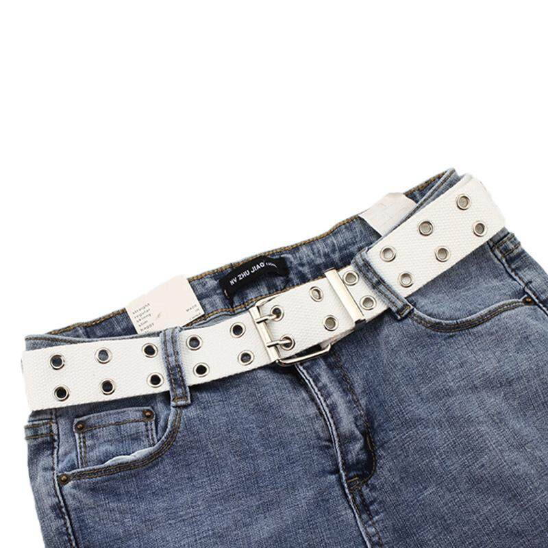 c8b0184cb66 Blowing Women Studded Grommet Hole 2 Row Pin Buckle Canvas Nylon Belt  Waistband 130cm