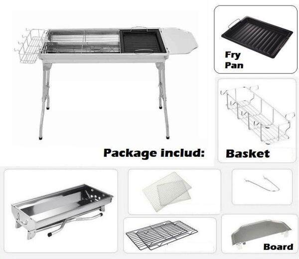 Stainless Steel Portable Folding Charcoal BBQ Grill With Basket & Board